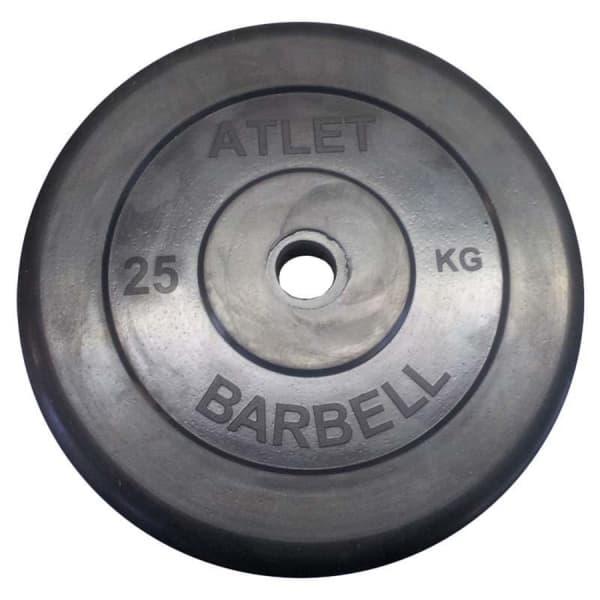Диск обрезиненный, чёрного цвета, 31 мм, 25 кг Atlet