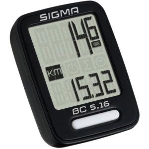 Велокомпьютер Sigma ВС 5.16, 5 функций, проводной, черный