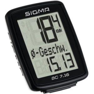 Велокомпьютер Sigma ВС 7.16, 7 функций, проводной, черный