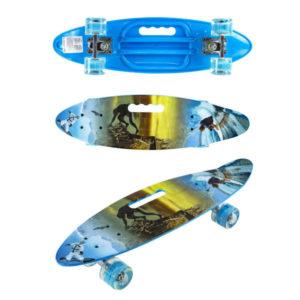 Скейт детский Navigator пластик, свет. кол.PU 60х45мм, ручка для переноски, 60х17х12см Т17038