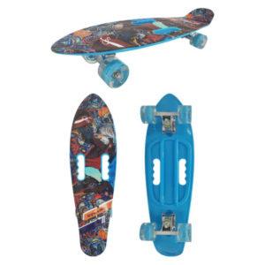 """Скейт детский Navigator пластик, свет. кол., 67х20х15см, 2 ручки для пер-ски,""""Графити синий"""" Т17043"""